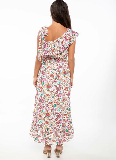 DeFacto Tek Kol Çiçek Desenli Elbise Ekru